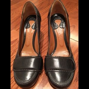 Chloe Tab Top Leather Black Heels Sz 37